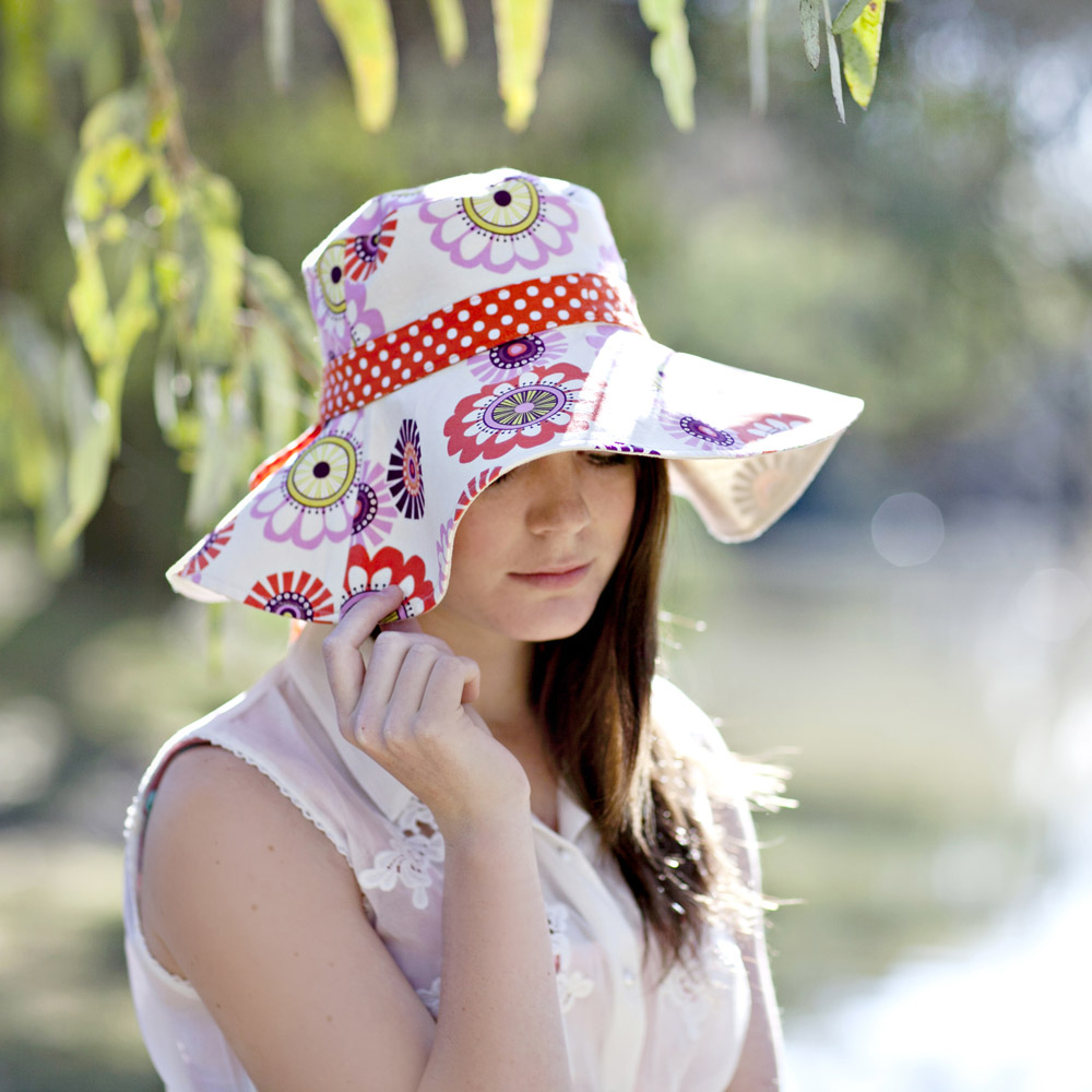 A completed sun hat from 'Spring Blooms' sun hat pattern.'