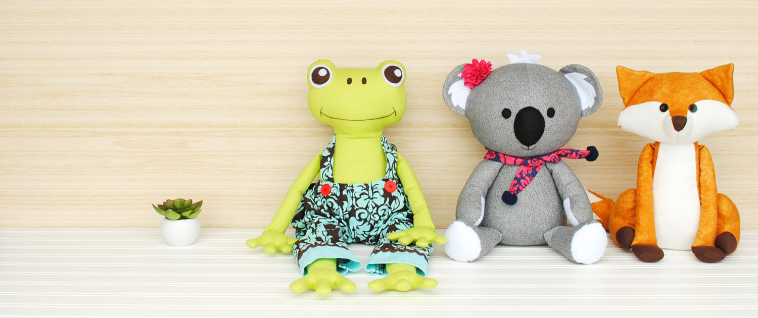 Angel Lea Designs Stuffed Animal Softies: Frog, Koala and Fox