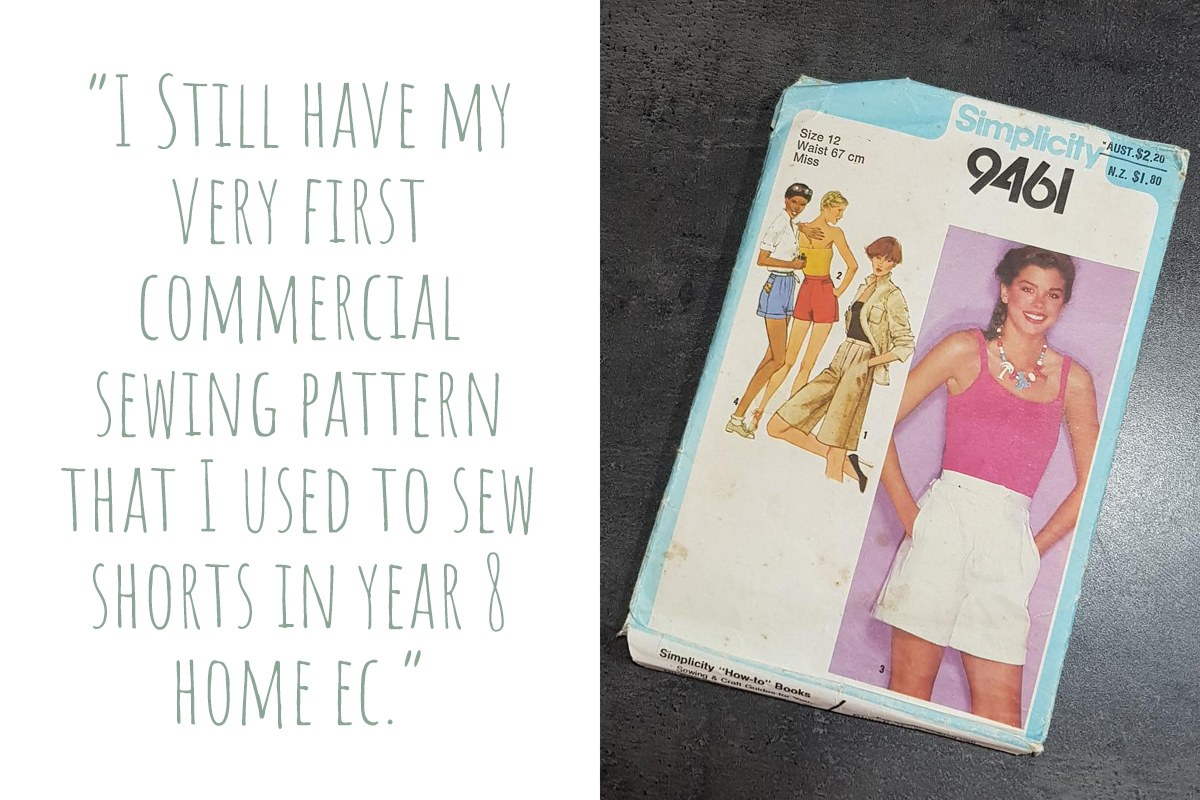 "Simplicity 9461, Julie's first sewing pattern from highschool: ""I still have my very first commercial sewing pattern that I used to sew shorts in year 8 Home Ec."""