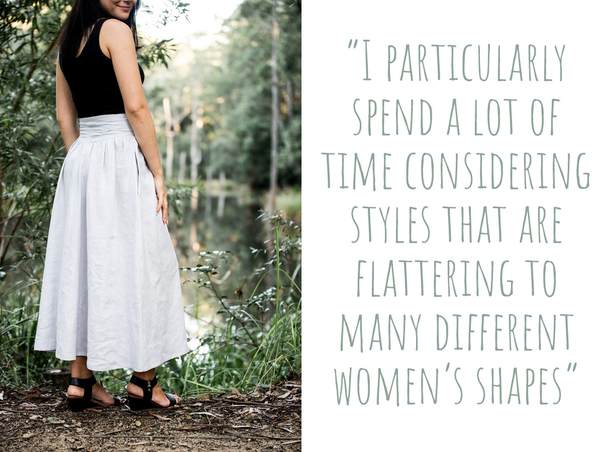 "AnnieGeorgina linen maxi skirt: ""I particularly spend a lot of time considering styles that are flattering to many different women's Shapes."