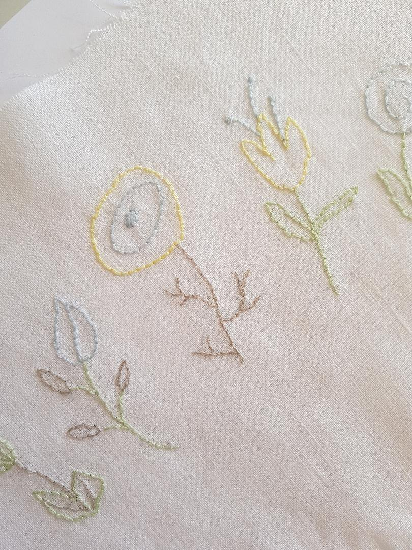 AnnieGeorgina delicate hand embroidered flowers on linen