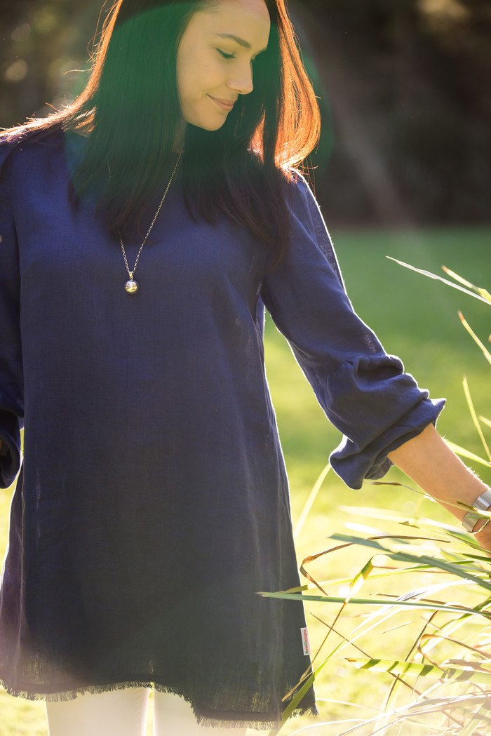 AnnieGeorgina long sleeve tunic with frayed trim in navy blue