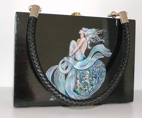 Paua Mermaid  wood box purse