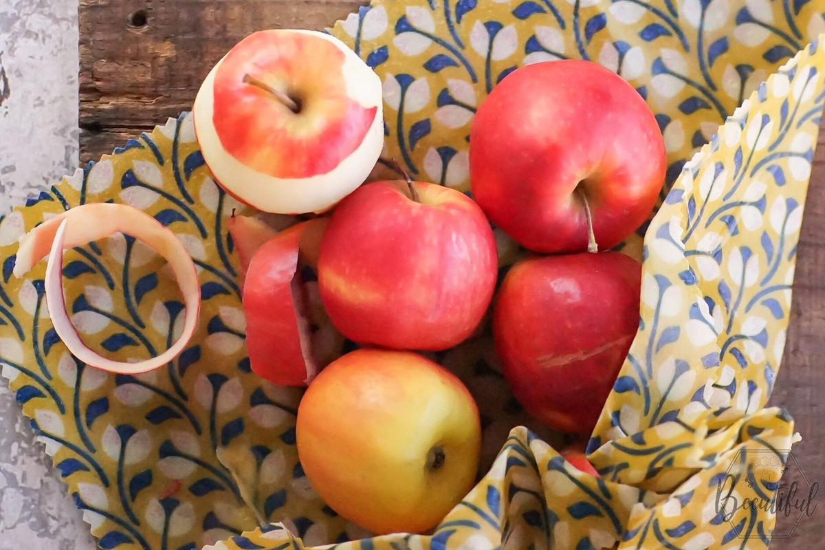 Beeswax wraps used for storing fruits like apples