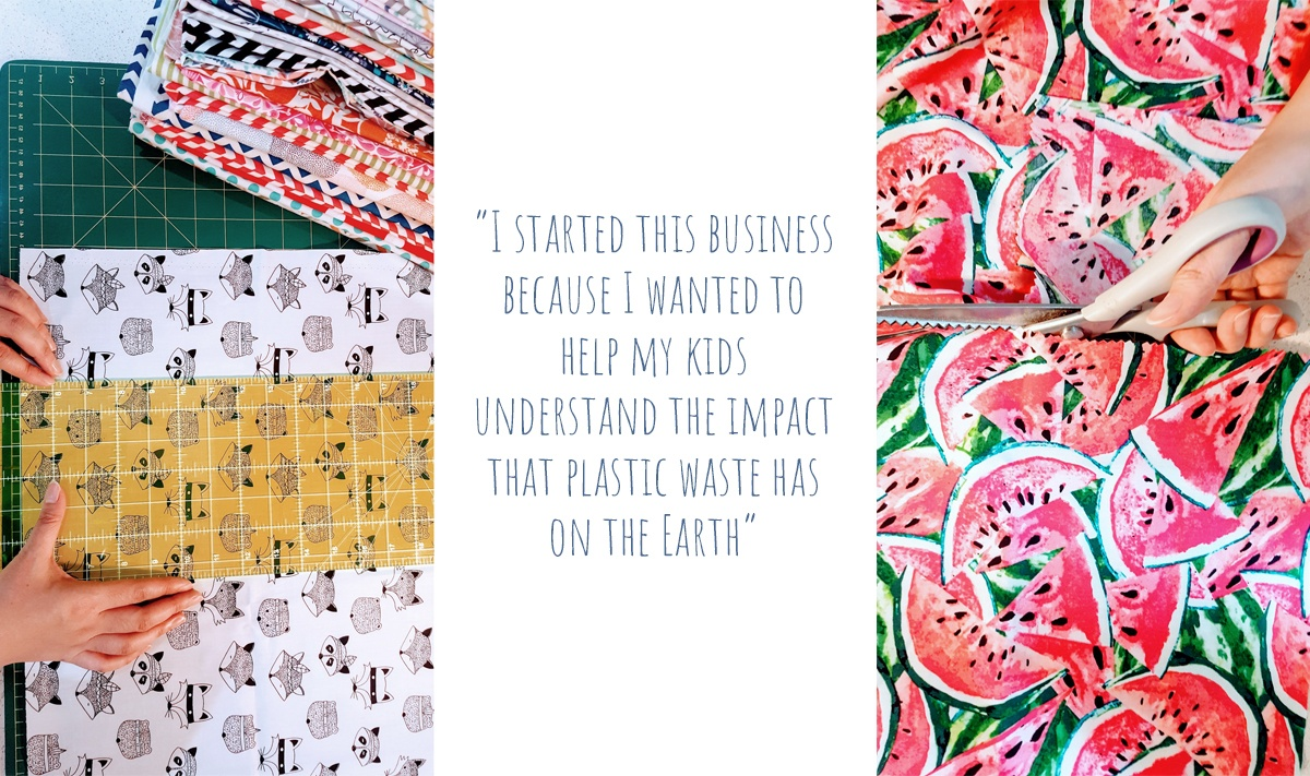 "Measuring and cutting fabric to make Beeutiful beeswax food wraps: ""I started this business because I wanted to help my kids understand the impact that plastic waste has on the Earth."""