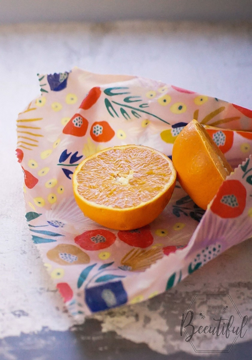 Beeswax wrap for storing cut fruit