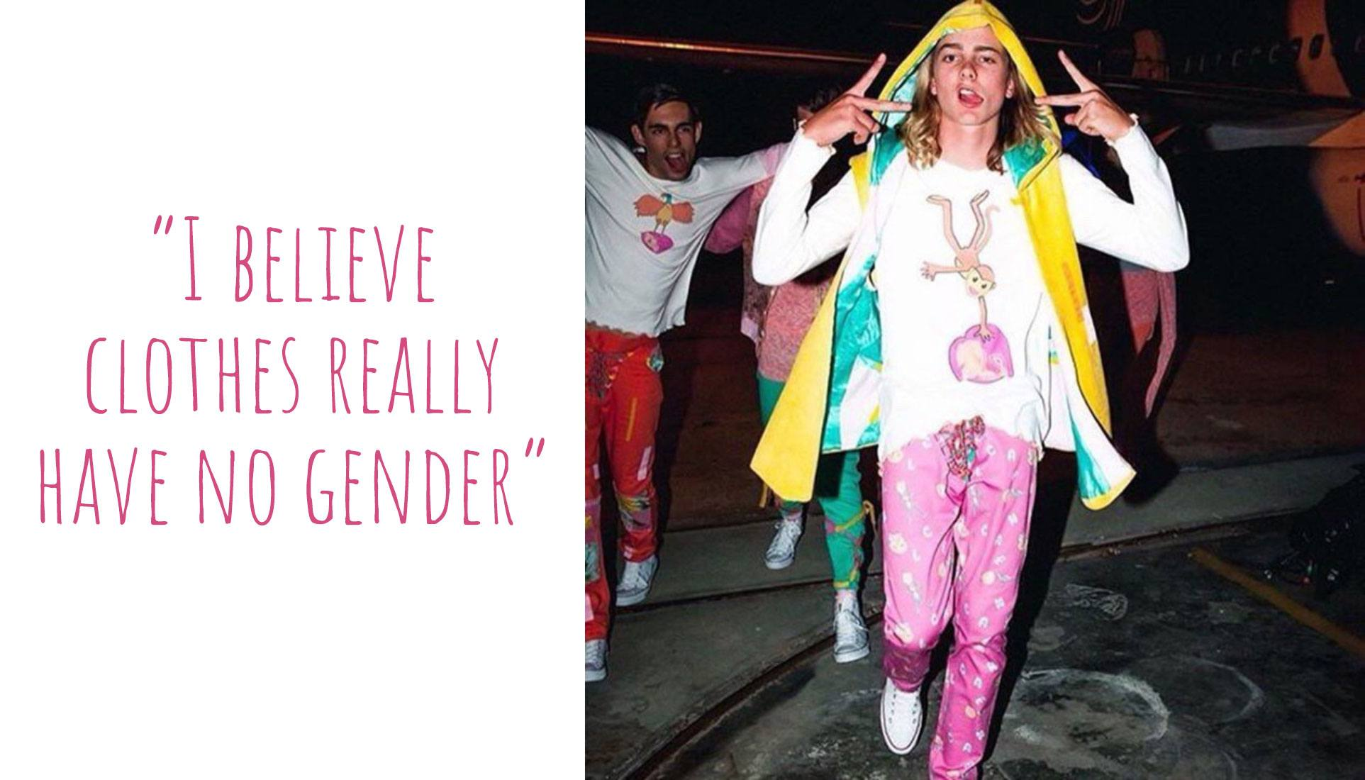 Young men modelling colourful gender atypical outfits from Christina's collections: 'I believe clothes really have no gender'