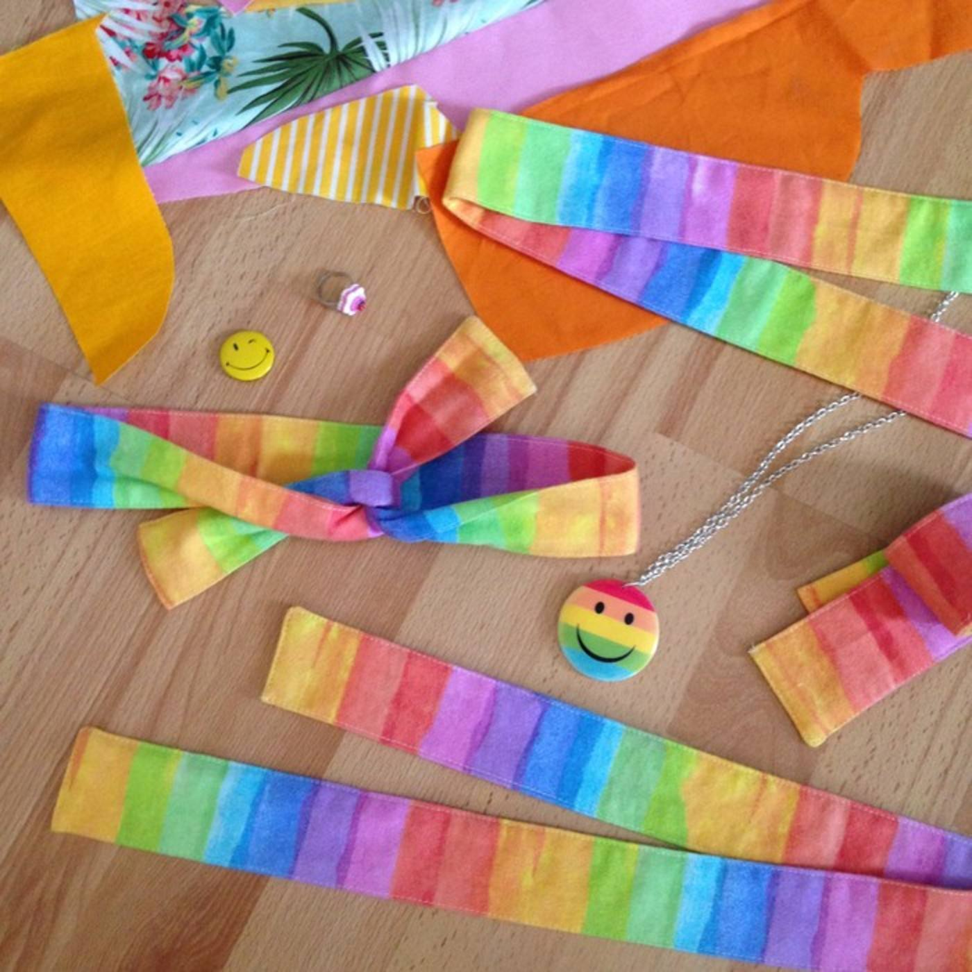 Rainbow headbands made from remnant fabric scraps by CLEAN the Label