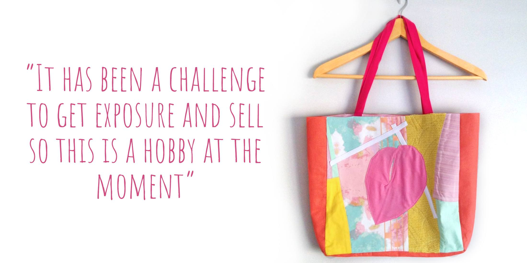 Sustainable patchwork tote bag made from repurposed fabric offcuts by CLEAN the Label: 'It has been a challenge to get exposure and sell, so this is a hobby at the moment'