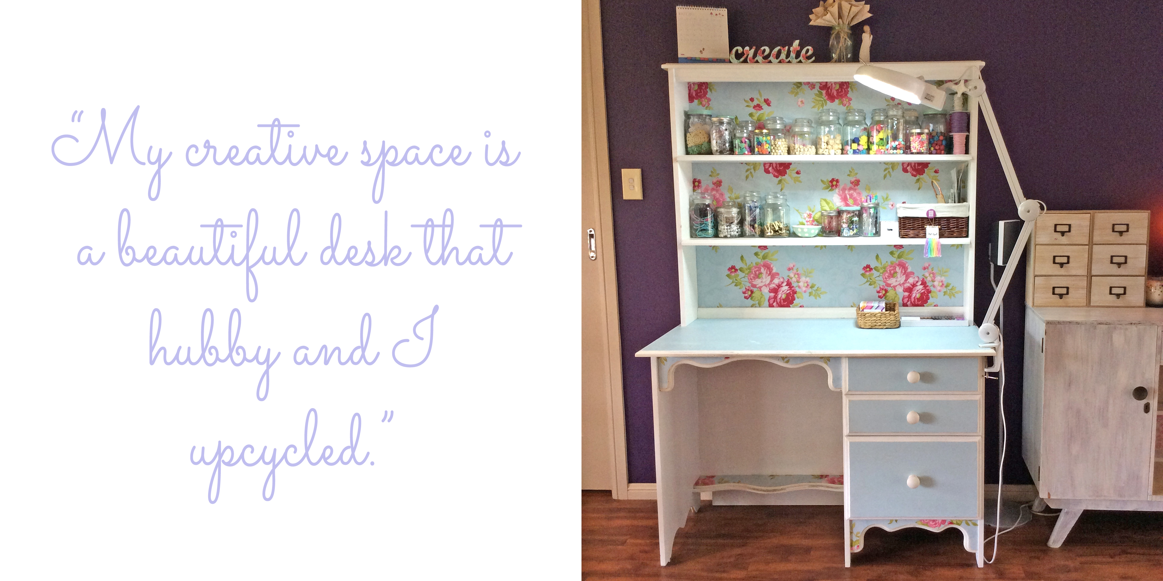 "Carly's creative workspace at home: ""My creative space is a beautiful desk that hubby and I upcycled."""