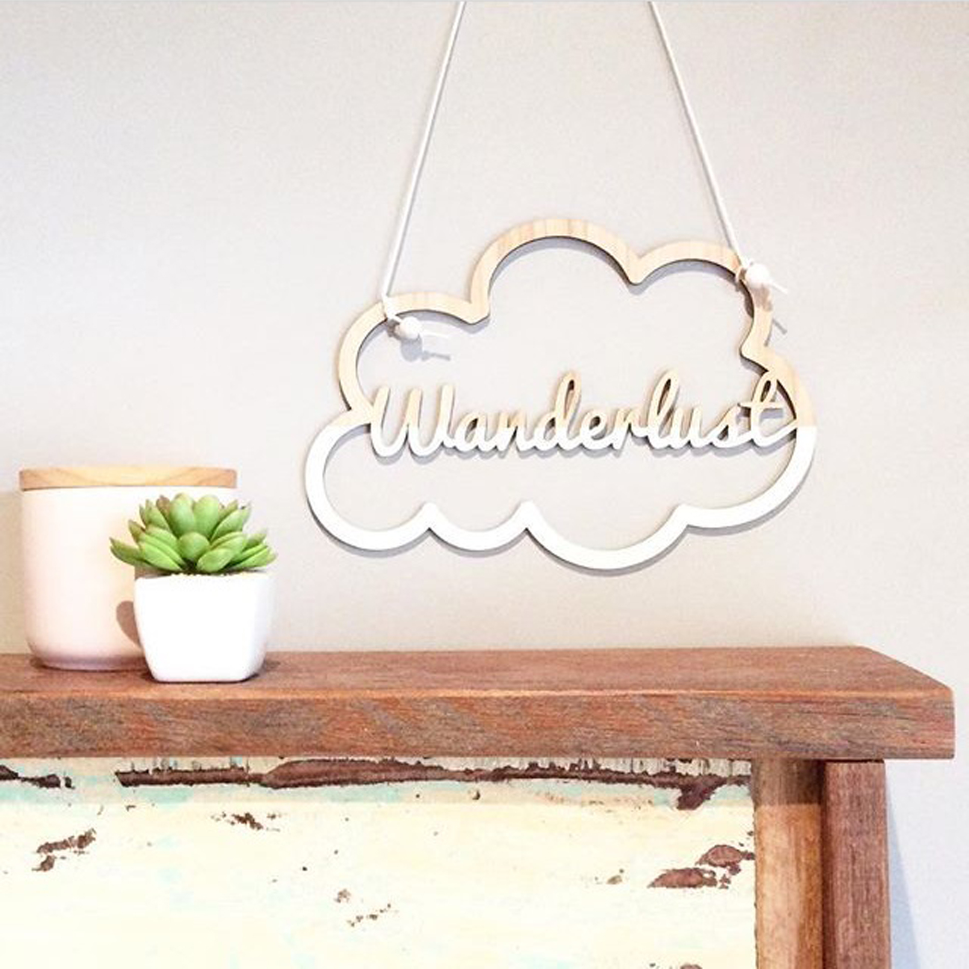 Wanderlust Cloud wallhanging, part of Carly's handmade home décor range""