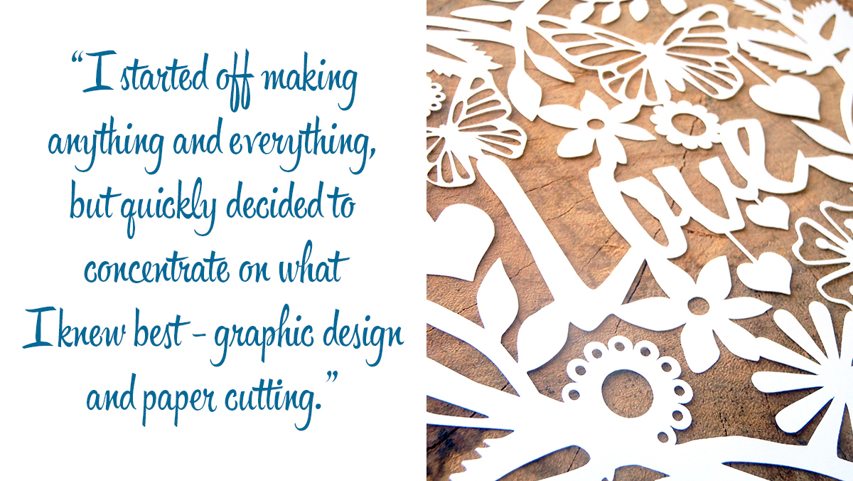 Handmadely customised Love papercut: 'I started off making anything and everything, but quickly decided to concentrate on what I knew best - graphic design and paper cutting.'