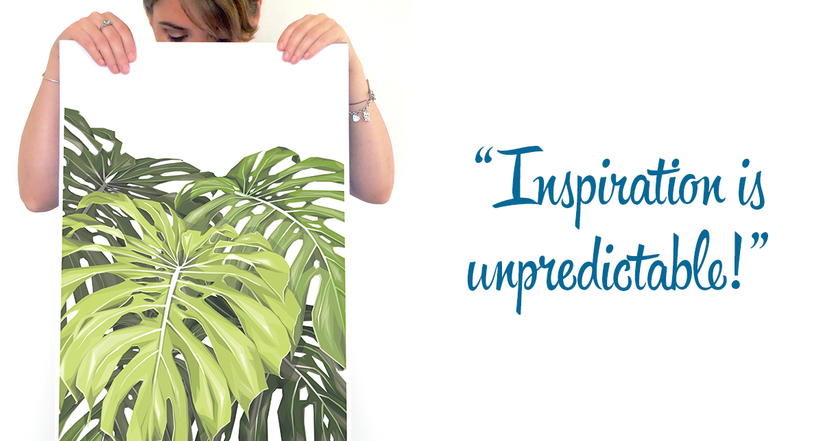 Handmadely Monstera print design: 'Inspiration is unpredictable!'