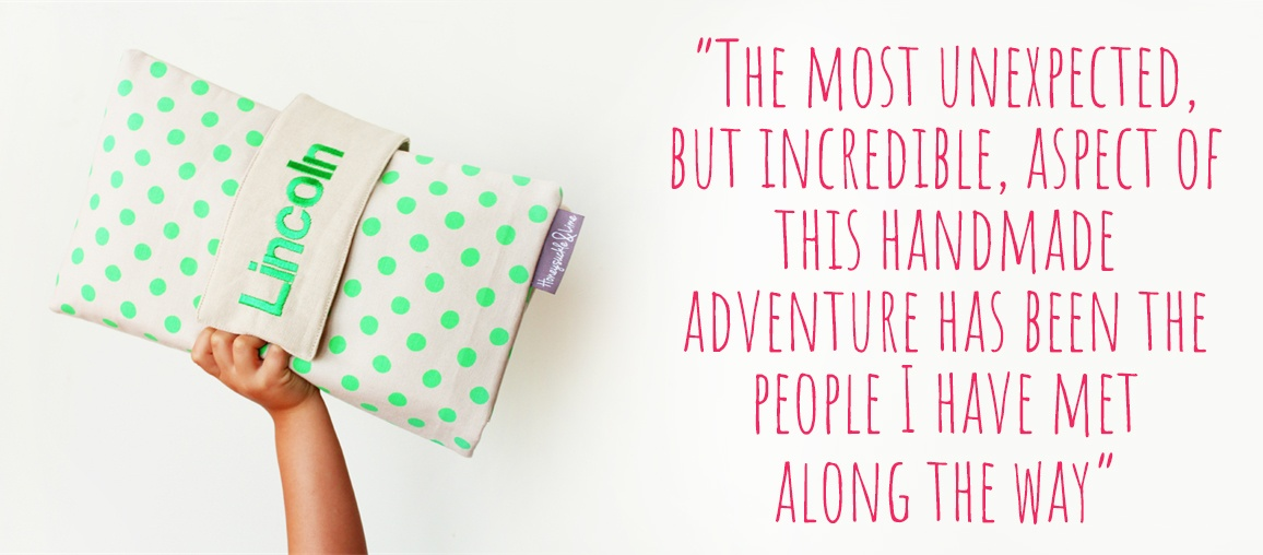 A personalised nappy wallet in bright green polkadots: 'The most unexpected, but incredible, aspect of this handmade adventure has been the people I have met along the way'