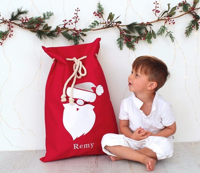 Personalised handcrafted Christmas Santa sack by Honeysuckle and Lime
