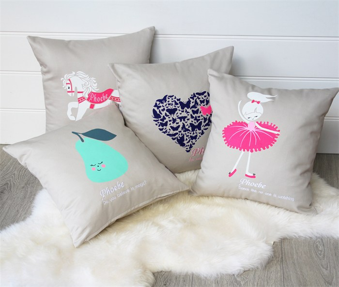 Honeysuckle and Lime range of children's screen-printed cushions