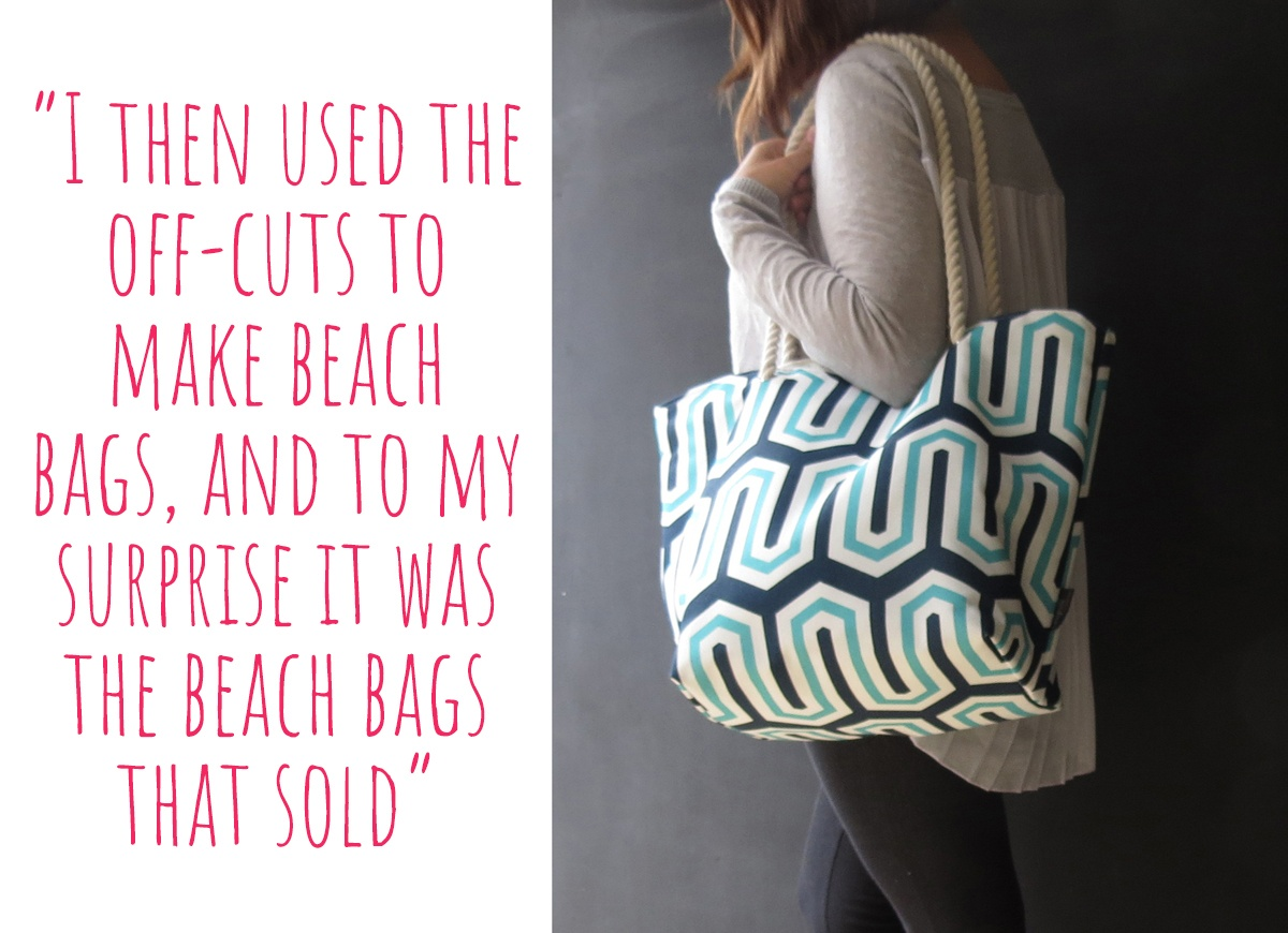 A beach-bag made from the offcuts of Ari's first project: 'I then used the off-cuts to make beach bags, and to my surprise it was the beach bags that sold'