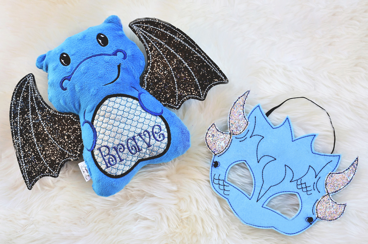 Inspired by Isabella Rose: Dragon soft toy and mask set