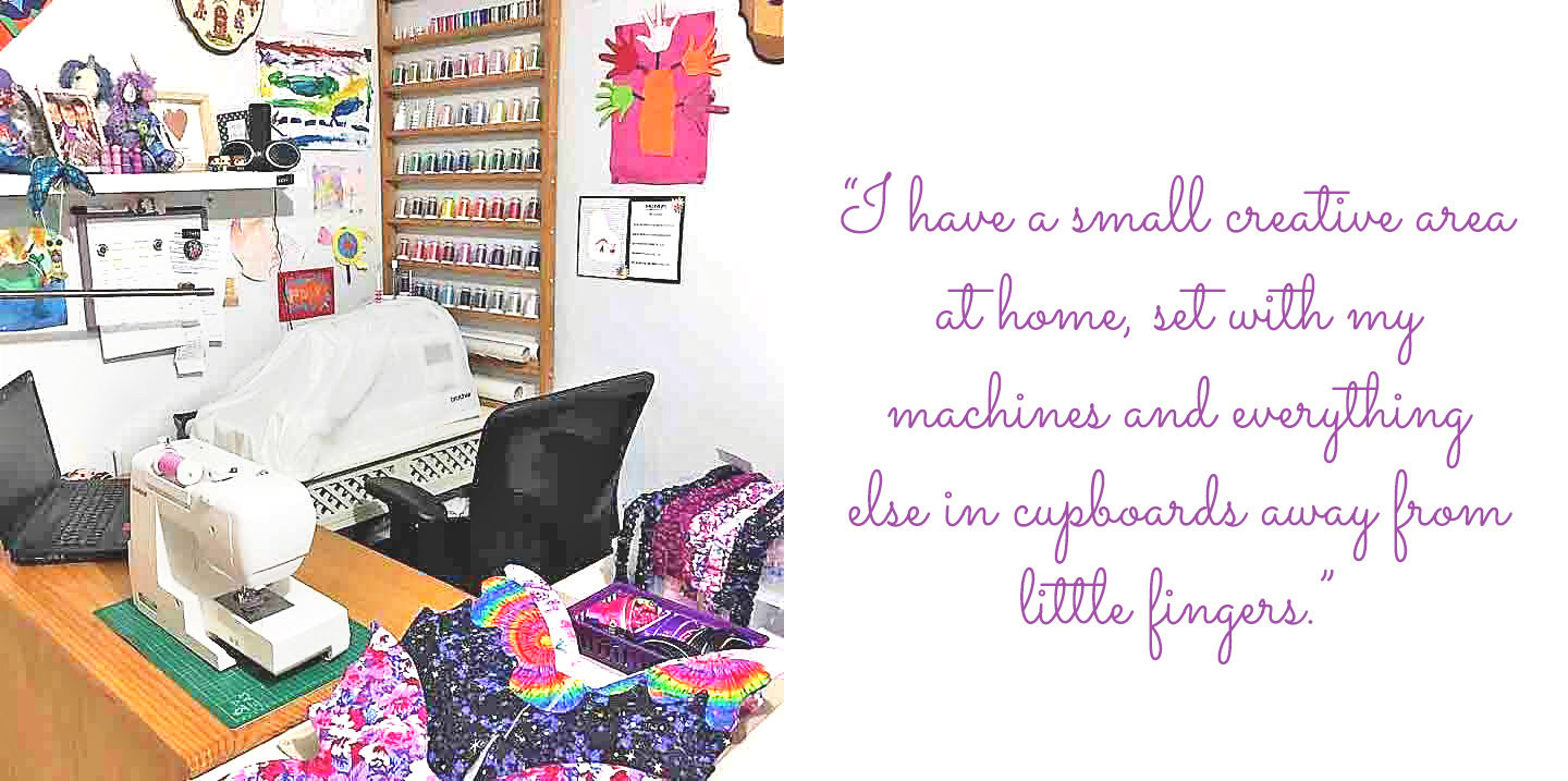 "Inspired by Isabella Rose sewing nook: ""I have a small creative area at home, set with my machines and everything else in cupboards away from little fingers."""