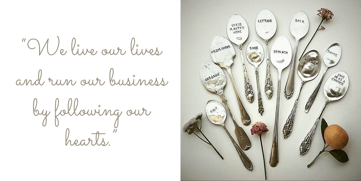 "Lally & Me Decorative kitchen spoons transformed into herb garden markers: ""We live our lives and run our business by following our hearts."""