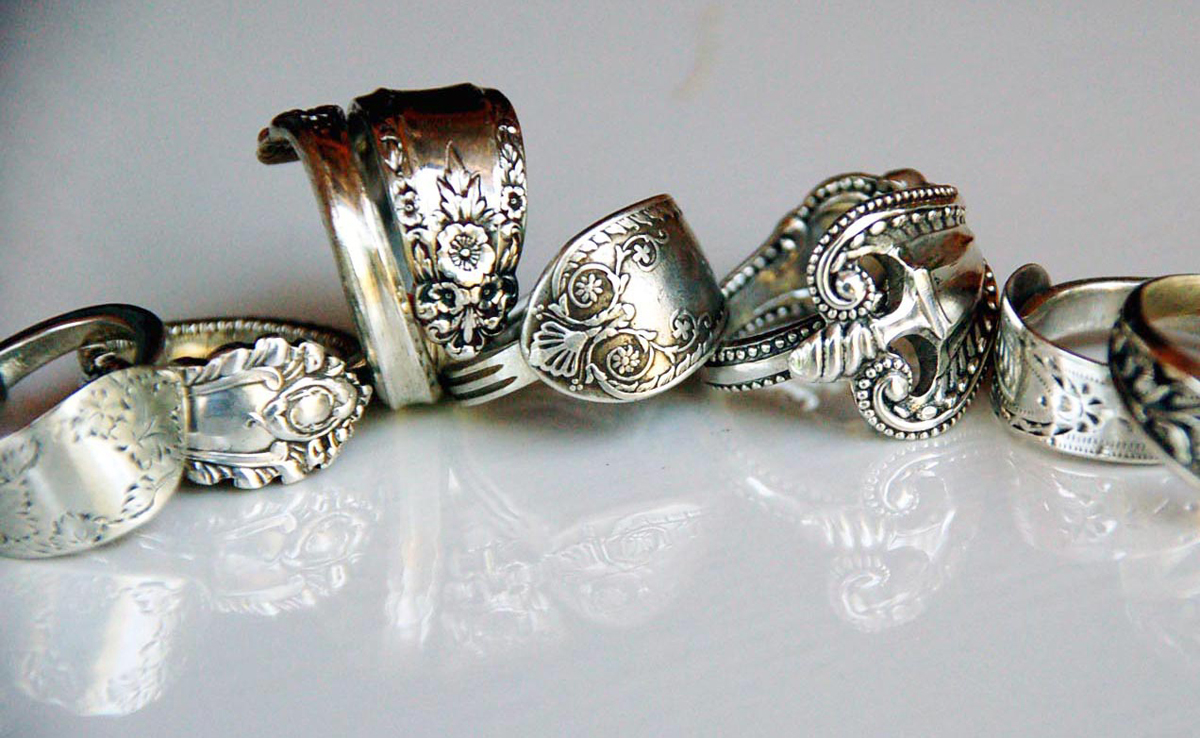 Lally & Me antique silverware repurposed into a bundle of ornate spoon rings