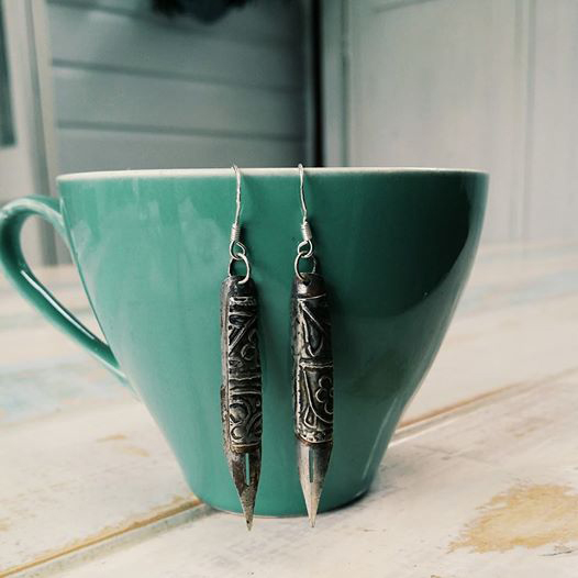 Lally & Me vintage fountain pen earrings embellished with sterling silver salvaged from an 1890 antique mirror
