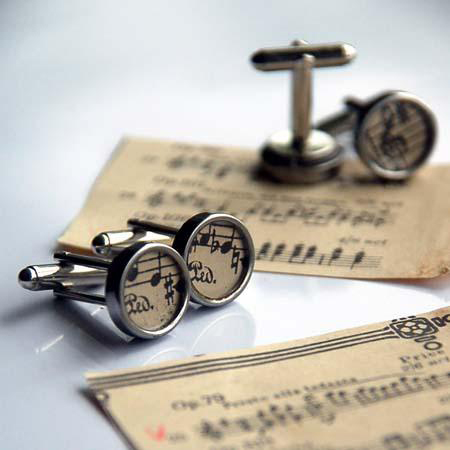 Lally & Me cufflinks made from vintage sheet music
