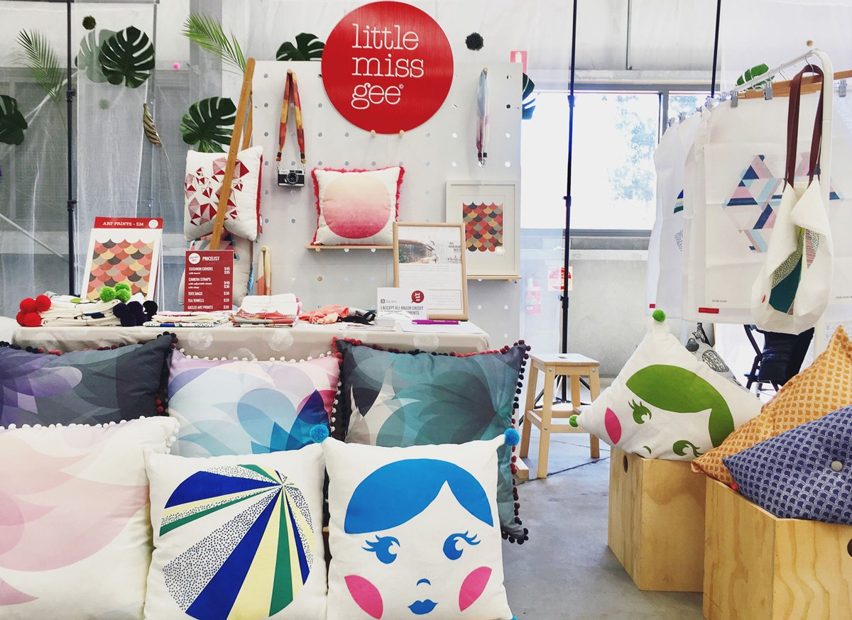 little miss gee stall at the 2017 Madeit Makers Market at Sweet Expo Melbourne cushion covers, tea towels, camera straps and other creations