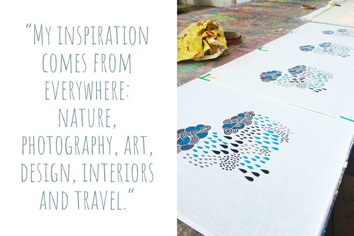 "Freshly screen-printed fabric panels: ""My inspiration comes from everywhere: nature, photography, art, design, interiors and travel."""