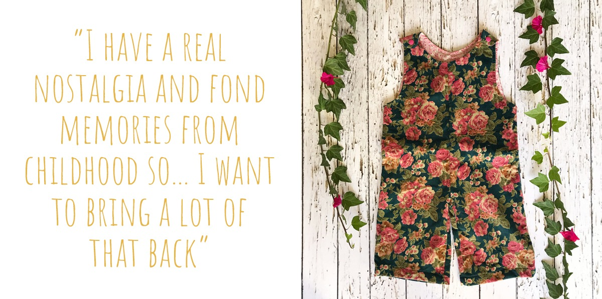 "Vintage-style rose and teal floral corduroy overalls: ""I have a real nostalgia and fond memories from childhood so... I want to bring a lot of that back"""