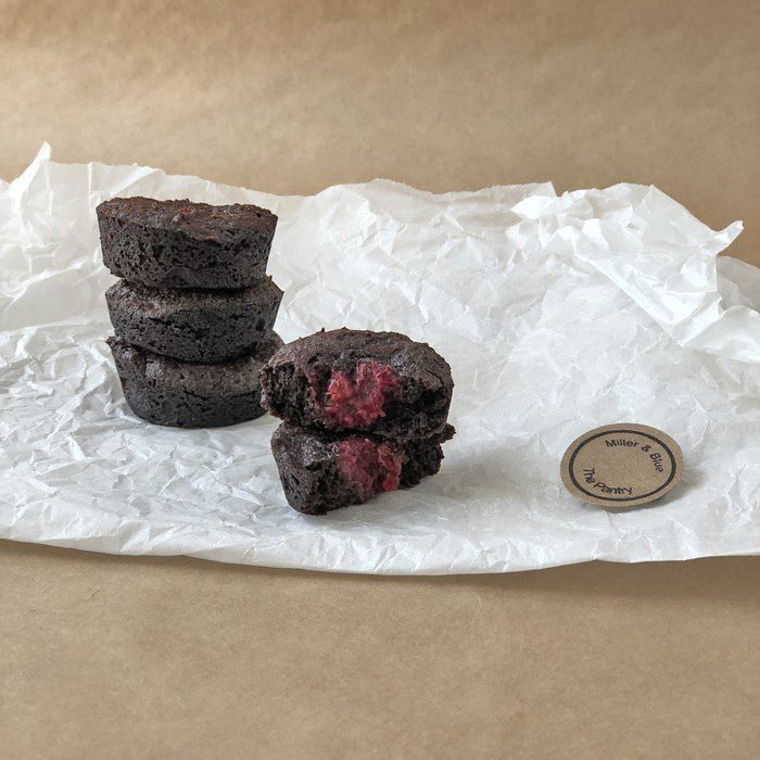 Handmade vegan chocolate and raspberry bites by Miller & Blue