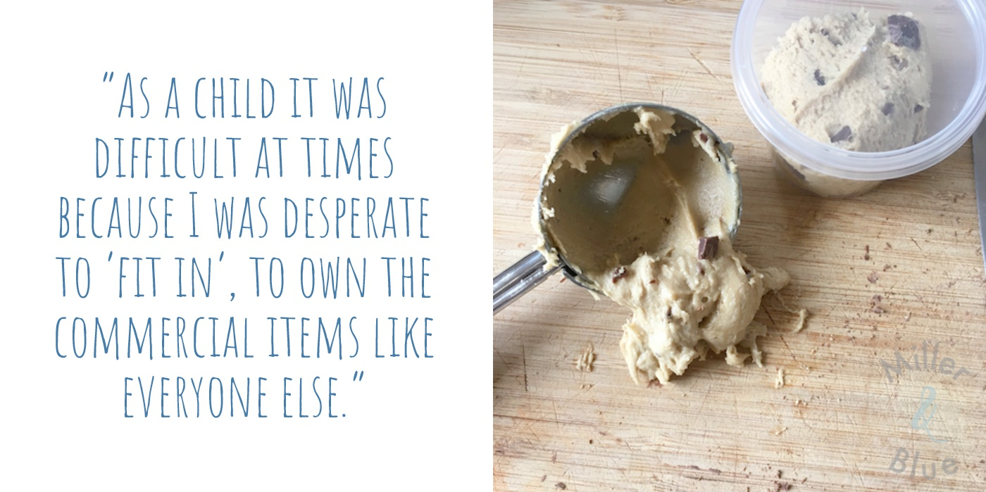Handmade vegan edible choc-chip cookie dough by Miller and Blue: 'As a child it was difficult at times because I was desperate to fit in, to own the commercial items like everyone else.'