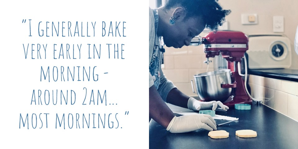 Zee cutting cookies in her kitchen in the wee hours of the morning: 'I generally bake very early in the morning – around 2am… most mornings.'