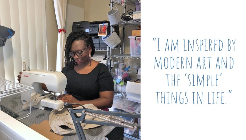 Zee in her home crafting corner, sewing a linen apron: 'I am inspired by modern art and the simple things in life.'