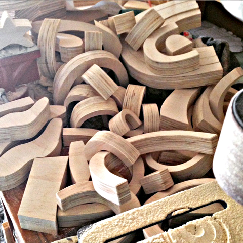 Wooden stacking toys: cut and ready to paint