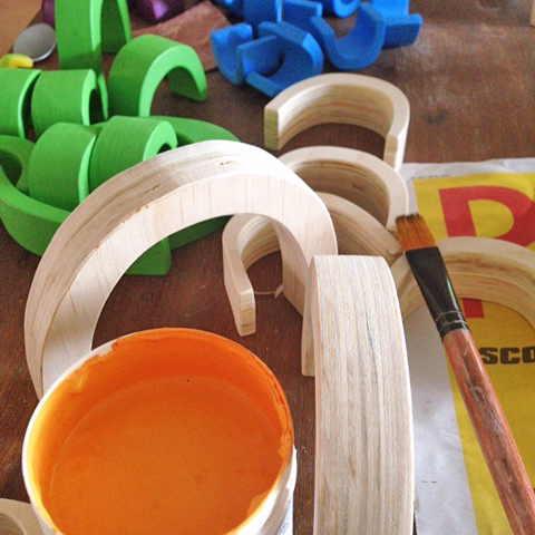 Wooden stacker toys: painting in progress