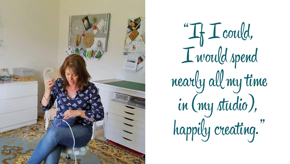 Leanne weaving a basket in her home studio: 'If I could, I would spend nearly all my time in (my studio), happily creating.'
