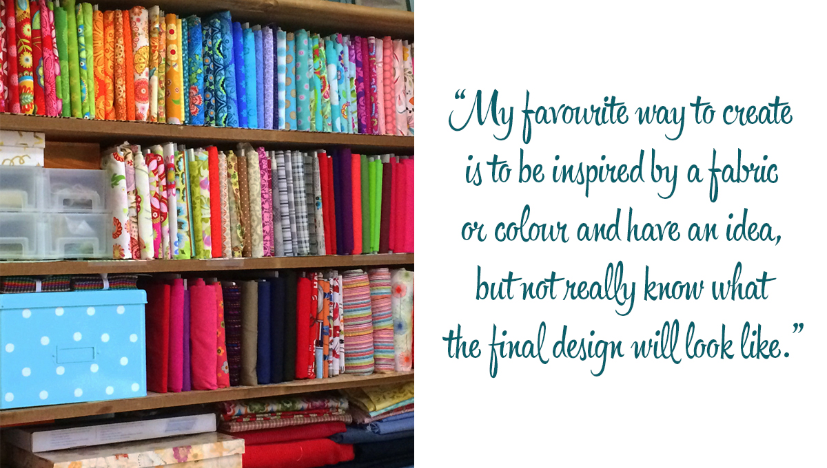 Leanne's colourful fabric stash: 'My favourite way to create is to be inspired by a fabric or colour and have an idea, but not really know what the final design will look like.'