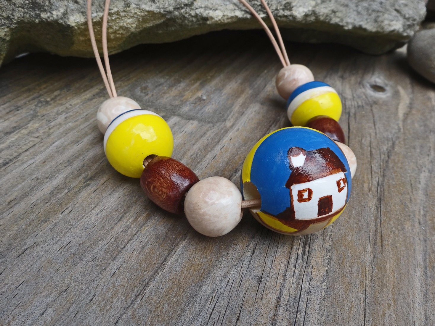 Handpainted wooden beads with house detail, 'A Little house by the Sea' by Silkyecho Pottery
