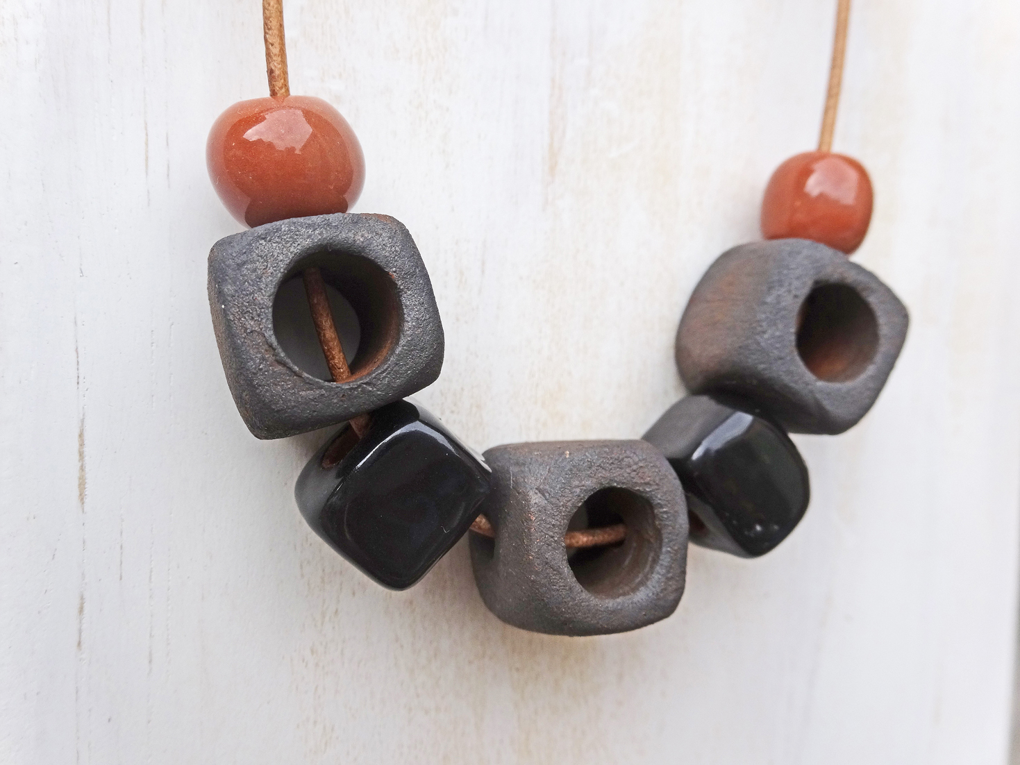 'Cinder Blocks' pottery necklace by Silkyecho Pottery