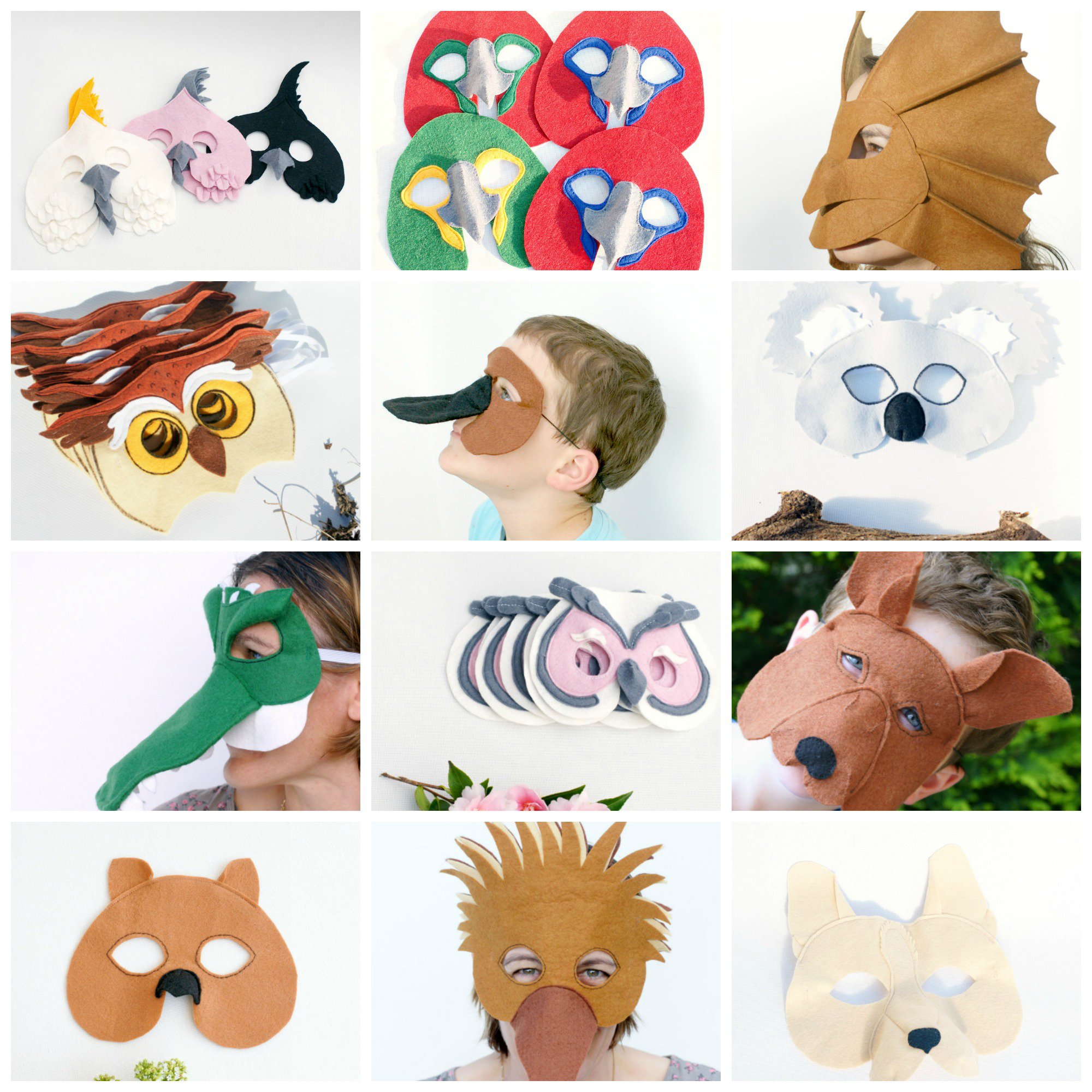 Australian animal felt masks