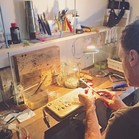 Paul from Mornington Sea Glass at work in the home studio