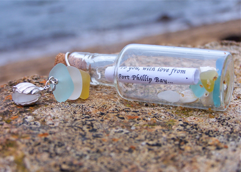 Message in a bottle: 'mermaid tears' sea glass keepsake