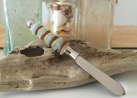 sea glass cheese knife