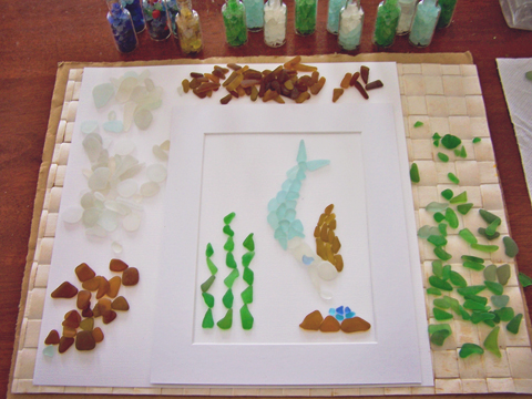 Early work in progress: mermaid sea glass picture