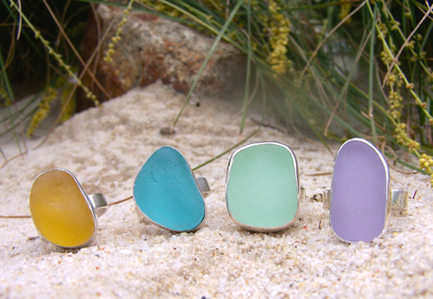 Colourful Sea glass rings each tell a different story