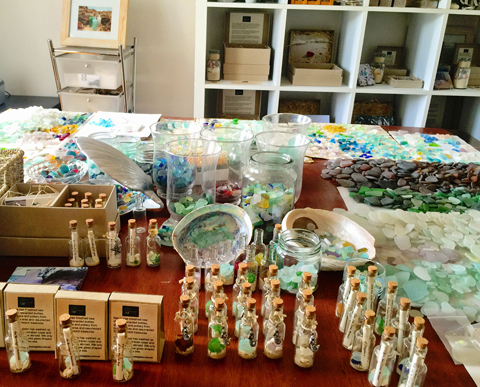 Large table for sorting and admiring sea glass