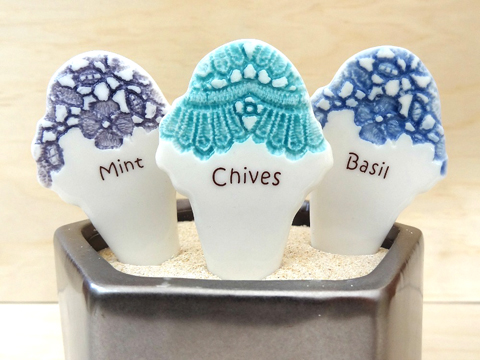 Ice cream-shaped herb markers