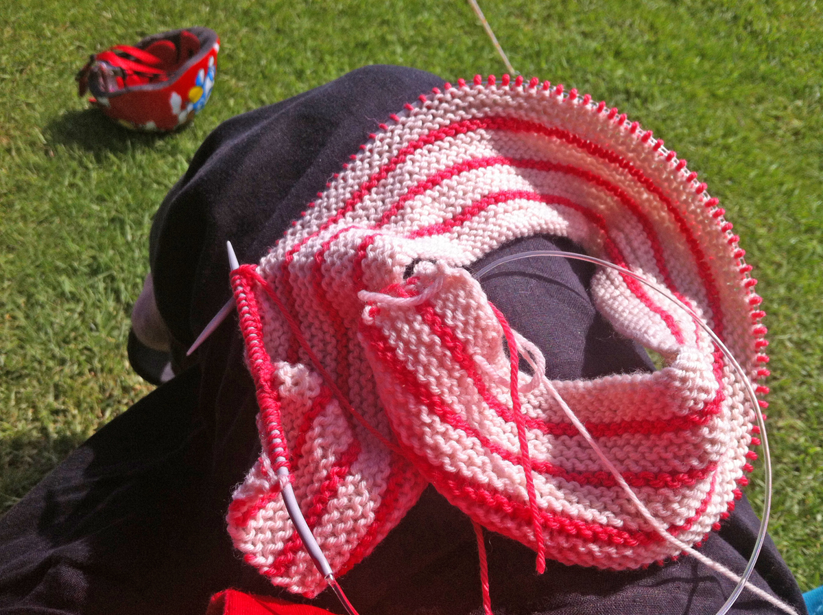 Knitting outdoors, a work in progress
