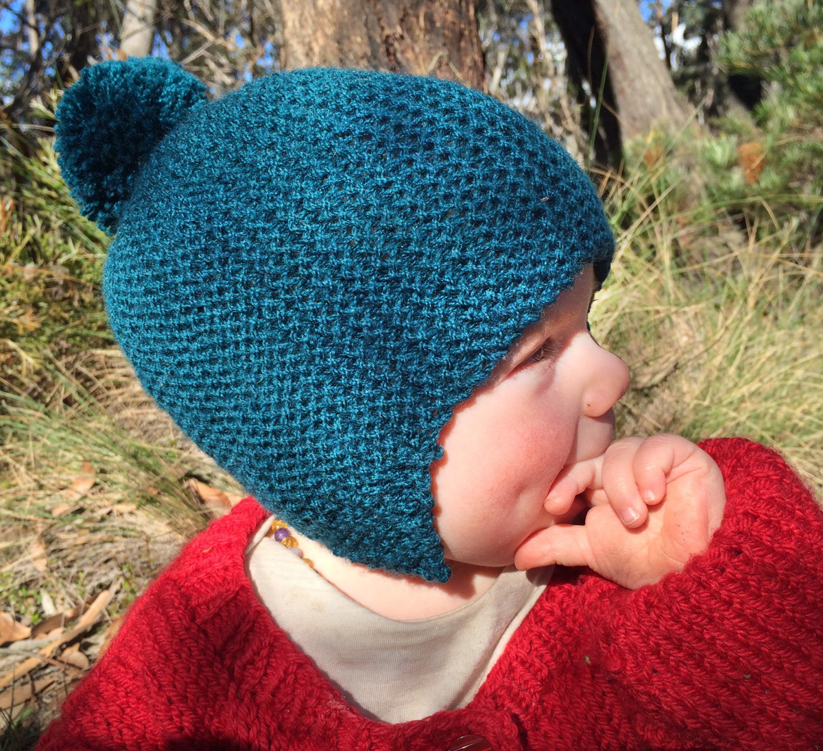 Dark teal green child's winter hat